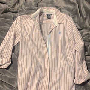 Pink US Polo assn. pinstriped blouse
